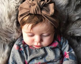 Mocha baby turban hat, baby turban, newborn hat, baby hat, infant hat, hospital hat, baby bow hat, coffee baby hat, brown baby hat