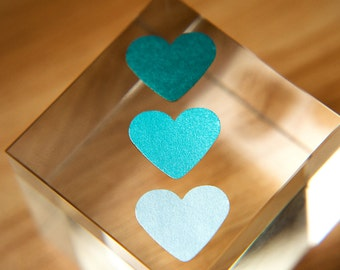 Blue, teal, green heart stickers. Envelope seals, gift sticker, bag stickers, gift box seal, favour, wedding Stationary pearl Love hearts