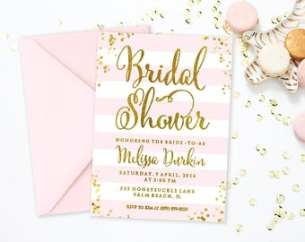 Blush Pink and Gold Bridal Shower Invitation, Pink and Gold Wedding Shower Invitation, Blush Bridal Shower Invitation Printable