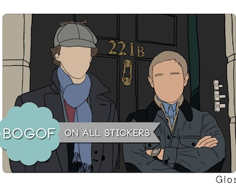 221b Sticker Sherlock Holmes John Watson Johnlock Drawing Illustration Stationery 221b Baker Street