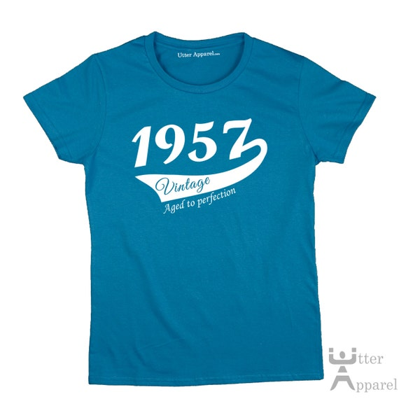 60th Birthday Gift For Woman 1957 Vintage T shirt ideal present for women celebrating a sixtieth birthday, medium large xl 2xl