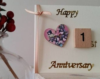 1st Anniversary Card for Wife, Girlfriend, Fiancee, Husband : Mini Handmade Card for First Anniversary with Love Birds / Paper Anniversary