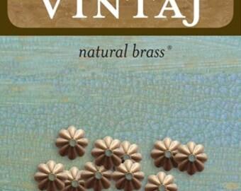 Vintaj Natural Brass BC90 6mm Daisy Bead Cap *10 pieces*