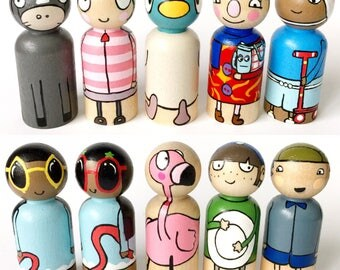 Sarah & Duck play set // peg dolls // wooden dolls