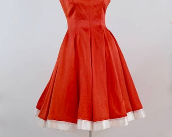 The Anita: 1950's vintage red satin taffeta low back swing circle pleated sweet heart neckline party dress small extra small