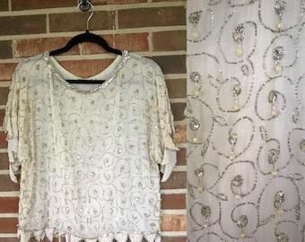 Stunning White Cream 1920s Style Sequin Beaded Silk Blouse, S