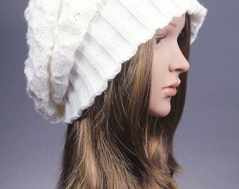 White Knit Hat,winter knit hat,beret knit hat, Slouchy Hat,white hat, knit hat, winter hat, chunky knit hat, Cabled Slouch Beanie