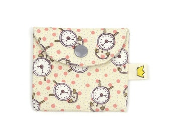Mini snap pouch with clocks, knitting time stitch marker case