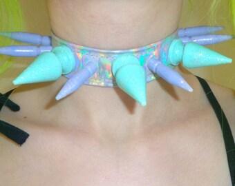 SALE! Lilac and aqua holographic spiked choker