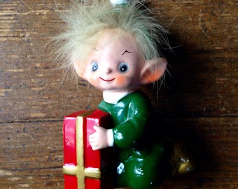 1950's Bone China Christmas Elf Figurine with Hair. Made in Japan. Josef Originals