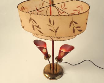 1950s Retro Table Lamp 3 lights with Fiberglass Shade , USA