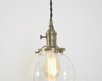 Plug In Antique Brass Pendant Light Glass Shade Ceiling Fixture