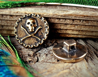 Jolly Roger Button ~ bronze or sterling silver ~ Costume LARP Renaissance SCA Cosplay ~ Skull and Crossbones ~ Pirate Coin Treasure