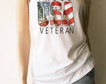 Veterans Day. Flag Tank Tops. Flag Shirts. Proud USA Veteran. American Flag. 4th of July. Vets. Veteran. Veterans Day Gift.