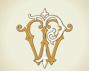 Vintage Monogram PW, WP | Wedding logo | Wedding Clip Art