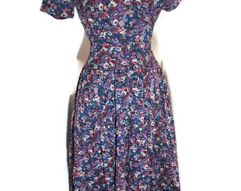 Liberty of London - Thomas and Jonathan of Canterbury - Tonna Lawn Short Sleeve Floral Cotton Dress - Size 10