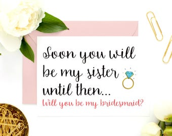 Sister In Law Bridesmaid Card, Sister In Law Card, Card for Sister In Law, Ask Bridesmaid, Be My Maid of Honor, Be My Bridesmaid