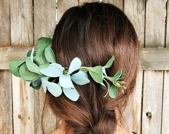 Eucalyptus Greenery Hair Piece / Bridal Hair Piece / Bridesmaid Greenery Hair Piece / Natural Hair Piece / High Quality Hair Comb / Bohemian