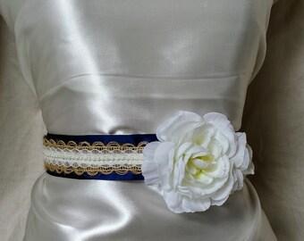 Navy Burlap and Lace Flower Girl Sash; Rustic Tie Back Sash for Flower Girl; Little Girl's Bridesmaid Sash; Navy Flower Girl Dress Sash