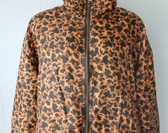 Vintage 90s Silk Animal Print Bomber Jacket/Leopard/