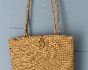 Vintage Straw Market Bag/Boho/Street Style/Tote/