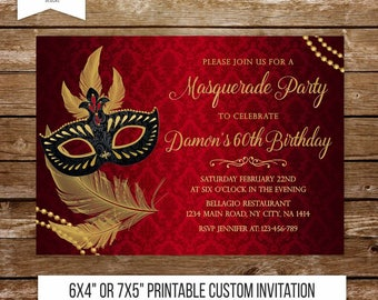 masquerade birthday invitation mardi gras invitation masquerade party invite printable red and black birthday masquerade invitation 242