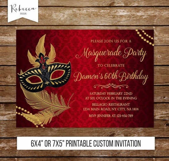 Masquerade Birthday Invitation Mardi Gras