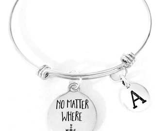 Best Friend Gift, No Matter Where Bangle Bracelet, Initial Bangle, Long Distance Travel Gift, Best Friend Gift Bangle, Sister Gift Bracelet