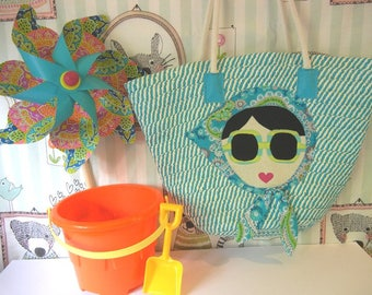 Tote Bag with Appliqued Sun Girl/Nautical Rope Handles/Great for Beach/Vacation