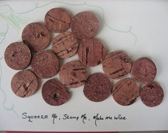 Funny Card 'Squeeze Me, Stomp Me, Make Me Wine'. Red Wine French corks, hand drawn stem. Funny card for (Wine) Lover
