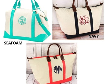 Monogrammed  Weekender/ Overnight Bag / Matching Pouch--NEW ITEMS
