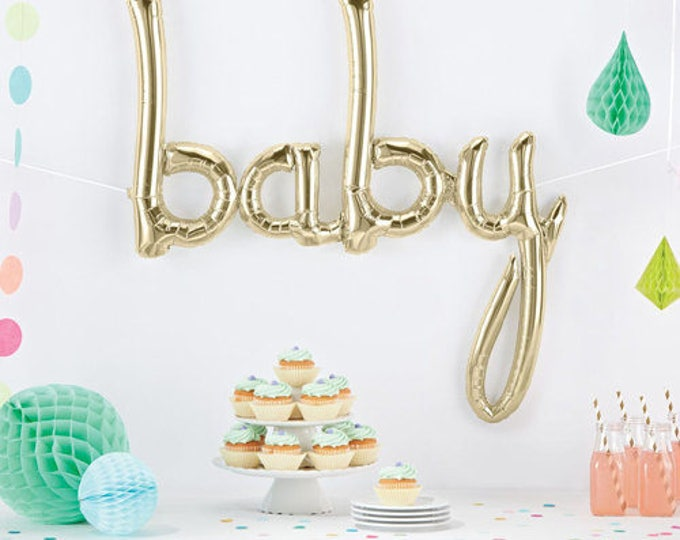 BABY Script Balloon in White Gold, Script Balloon Banner, Baby Shower Balloons, Gender Reveal Party Balloons, Baby Shower Decor