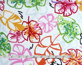 Large Tropical Leaves Fabric, Benartex Sun-Kissed 3323 Michele D'Amore, Tropical Quilt Fabric, Pink, Red, Green, Gold, Gray, Floral, Cotton
