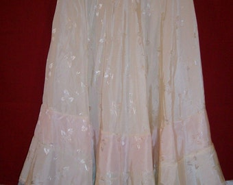 Vintage Patticoat Ivory Color With Tulle Ruffles  Size XS