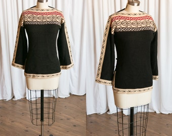 Ashokan sweater | vintage 70s tunic | vintage pullover sweater tunic | 70s black knit top | bell sleeve 1970s hippie | black tribal knit