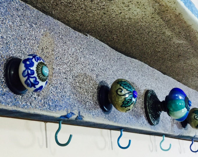 Entryway organizer pallet wood hanging shelf /floating shelves rustic reclaimed wood decor/ wall coat rack 6 blue hooks 5 hand-painted knobs
