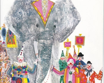 Circus Elephant clowns 70's mid century colourful children's illustration retro nursery decor Brian Wildsmith 8.5x11 inches
