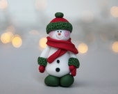 Snowman Brooch  Christmas Brooch  Christmas Gift  Secret Santa Gift  Fimo Jewellery  Handmade Brooch  Gift for Her