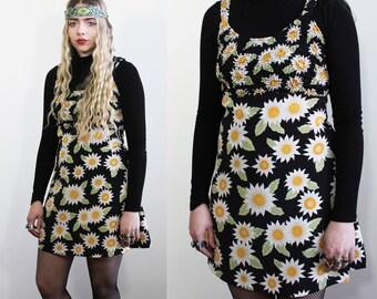 90's Sunflower Print Mini Dress