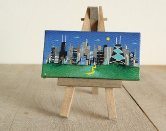 chicago skyline, mini painting, with easel, hand painted,  2x4 canvas, smigielski,  ooak, choice of easel color