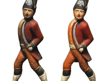 Pair of Iron Hessian Soldier Andirons