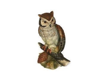 Royal Crown Owl figurine vintage painted porcelain bird gift for mom