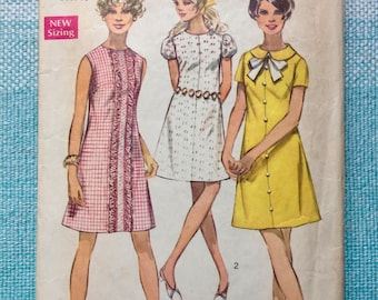 1960s Simplicity 8189 Sewing Pattern Ladies Misses Shift Sheath Dress Peter Pan Collar Puff Sleeves Mod Ruffle Round Neck Size 14 Bust 36