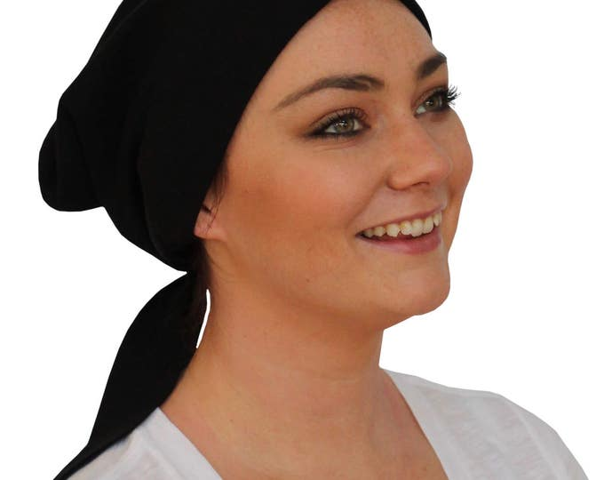 Featured listing image: Gabrielle Pre-Tied Head Scarf -Women's Cancer Headwear, Chemo Scarf, Alopecia Hat, Head Wrap,  Head Cover for Hair Loss - Black