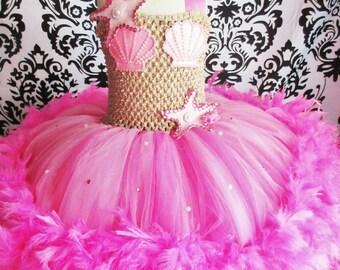Pink Little Mermaid Tutu Dress/Feather Dress/Pink Mermaid Tutu Dress/Pink tutu dress/Mermaid Dress/Mermaid Costume/girls mermaid costume
