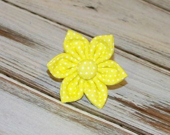 Yellow Pin Dot Flower for Dog collar, Cat collar, collar flower, pet collar flower, wedding flower, flowers for dog collars