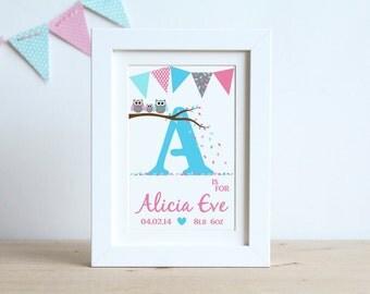 Owl Nursery Letter in frame, Personalised Baby Girl OWL Name Frame Print, Personalised Baby Gift, Nursery Art, Children's Room Letters, Owls