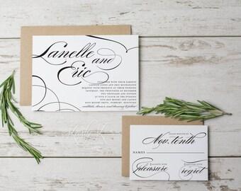 SALE Printable Wedding Invitation Set, Wedding Invites, Elegant Wedding Invitation, Calligraphy Wedding Invitation, We Design + You Print