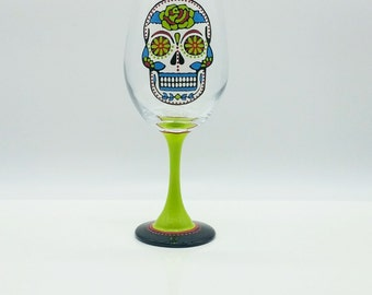 Sugar Skull Hand Painted Wine Glass Lime Green Turquoise Red Dia de los Muertos Day of the dead
