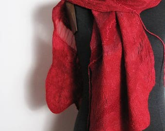 Silk Wool Scarf Shawl Wrap Red Nuno felted scarf Hand felted scarf for Woman 100% natural Design shawl